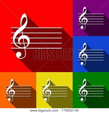 Music violin clef sign. G-clef. Vector. Set of icons with flat shadows at red, orange, yellow, green, blue and violet background.