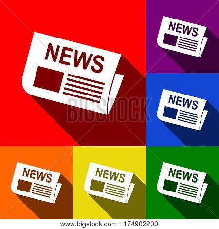 Newspaper sign. Vector. Set of icons with flat shadows at red, orange, yellow, green, blue and violet background.