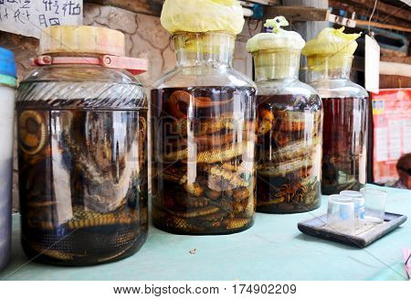 Laotian People Made Traditional Liquor Fermented And Pickled With Poisonous Animals And Poisonous In