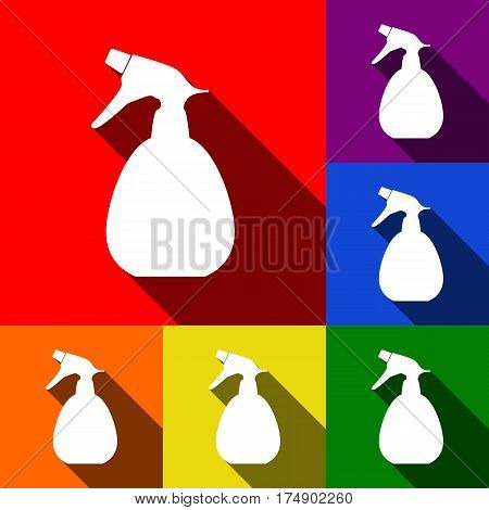 Spray bottle for cleaning sign. Vector. Set of icons with flat shadows at red, orange, yellow, green, blue and violet background.