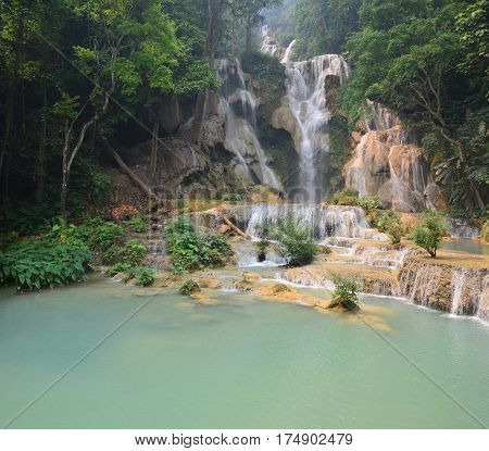 Motion Of Water At Tat Kuang Si Waterfalls In Luang Prabang, Laos