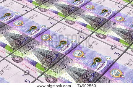 Kuwait dinars bills stacks background. 3D illustration.