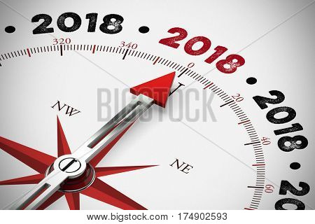 Arrow of compass pointing to new year 2018 (3D Rendering)