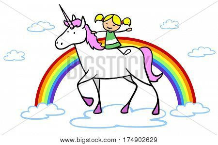 Cartoon of unicorn with girl and rainbow in fantasy clowd world