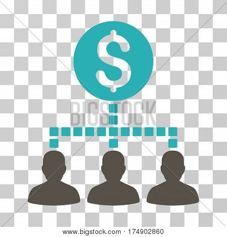 Money Recipients icon. Vector illustration style is flat iconic bicolor symbol grey and cyan colors transparent background. Designed for web and software interfaces.