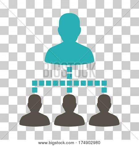 People Hierarchy icon. Vector illustration style is flat iconic bicolor symbol grey and cyan colors transparent background. Designed for web and software interfaces.