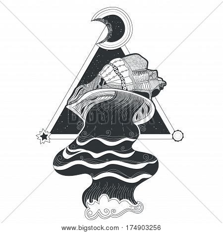 Vector illustration of a the flow of water flowing out of seashells and of sacred geometry. Hand-drawn tribal pattern tattoo, surreal graphics. Print for T-shirt design.