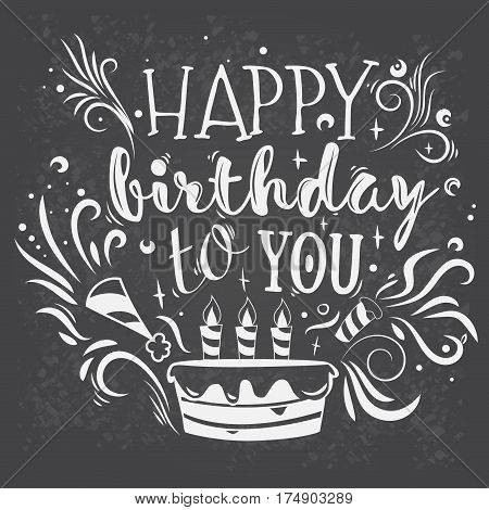 Vector illustration of the inscription on happy birthday. Template for greeting card with a handwritten inscription