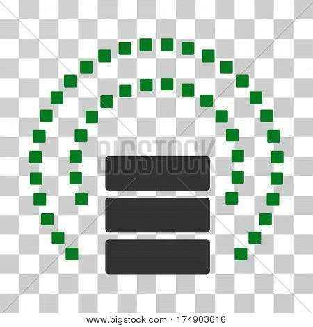 Database Sphere Shield icon. Vector illustration style is flat iconic bicolor symbol green and gray colors transparent background. Designed for web and software interfaces.