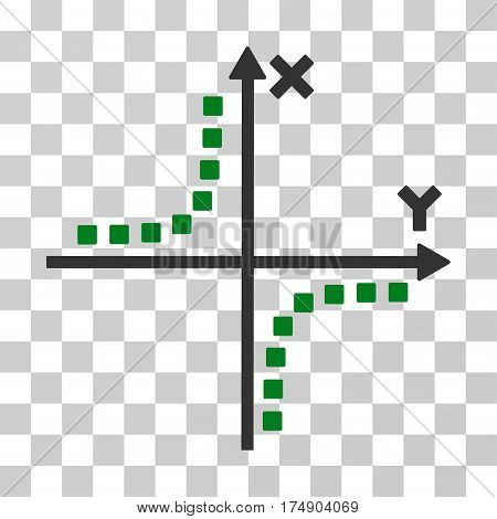 Hyperbola Plot icon. Vector illustration style is flat iconic bicolor symbol green and gray colors transparent background. Designed for web and software interfaces.