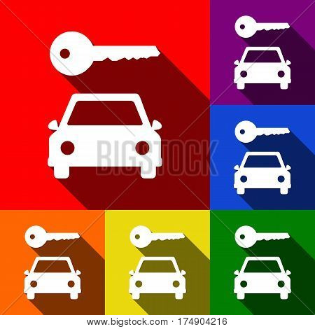 Car key simplistic sign. Vector. Set of icons with flat shadows at red, orange, yellow, green, blue and violet background.