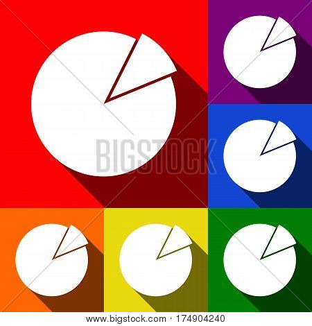 Finance graph sign. Vector. Set of icons with flat shadows at red, orange, yellow, green, blue and violet background.