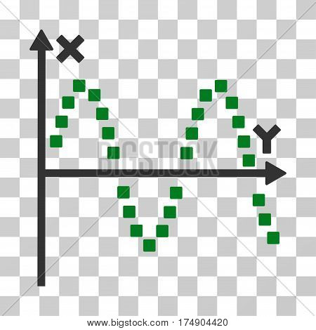 Sine Plot icon. Vector illustration style is flat iconic bicolor symbol green and gray colors transparent background. Designed for web and software interfaces.