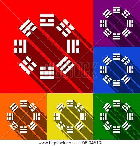 Bagua sign. Vector. Set of icons with flat shadows at red, orange, yellow, green, blue and violet background.
