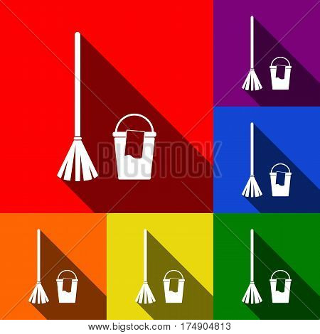Broom and bucket sign. Vector. Set of icons with flat shadows at red, orange, yellow, green, blue and violet background.