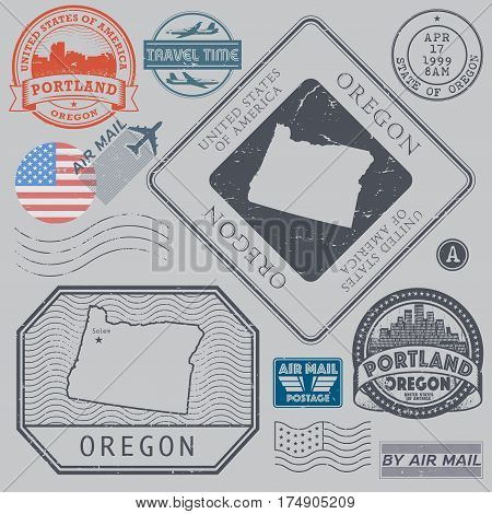 Retro vintage postage stamps set Oregon United States theme vector illustration