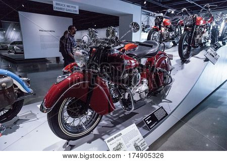 Los Angeles CA USA -- March 4 2017: Bright red 1946 Indian Chief at the Petersen Automotive Museum in Los Angeles California United States. Editorial only.