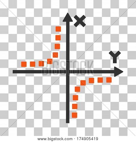Hyperbola Plot icon. Vector illustration style is flat iconic bicolor symbol orange and gray colors transparent background. Designed for web and software interfaces.