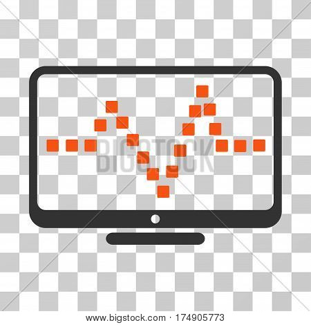 Pulse Monitoring icon. Vector illustration style is flat iconic bicolor symbol orange and gray colors transparent background. Designed for web and software interfaces.