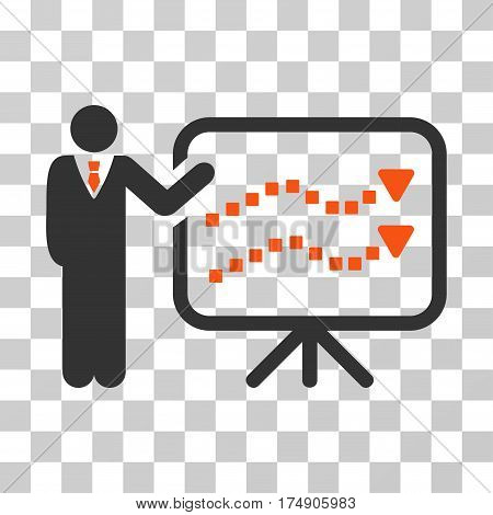 Trends Lecture icon. Vector illustration style is flat iconic bicolor symbol orange and gray colors transparent background. Designed for web and software interfaces.