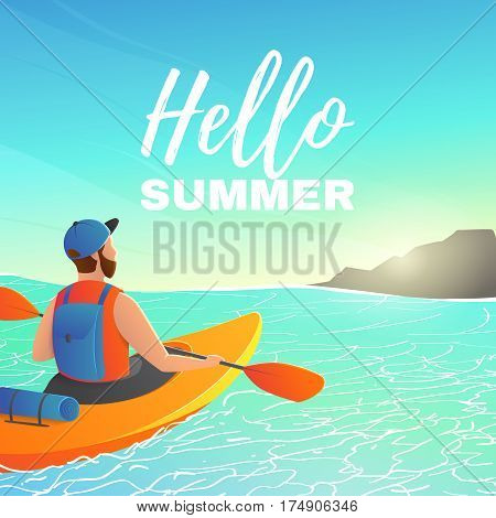 Beautiful backdrop with man paddling kayak in sea. Character kayaking in ocean to island on a sunny day.  Vector illustration.