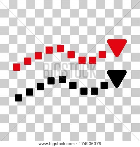 Dotted Trend Lines icon. Vector illustration style is flat iconic bicolor symbol intensive red and black colors transparent background. Designed for web and software interfaces.