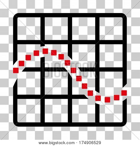 Function Chart icon. Vector illustration style is flat iconic bicolor symbol intensive red and black colors transparent background. Designed for web and software interfaces.