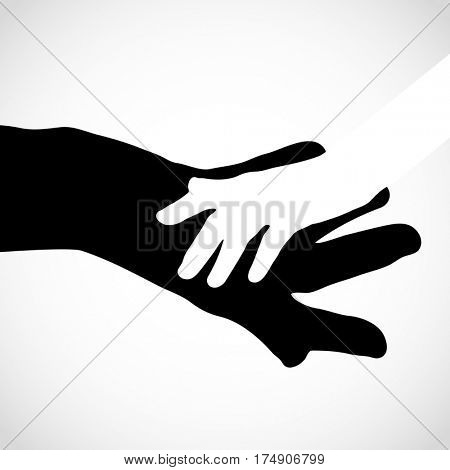 Black color big hand and white small hand concept. Help symbol hands support emblem. Hands icon illustration. Education, health care, medical, design element.