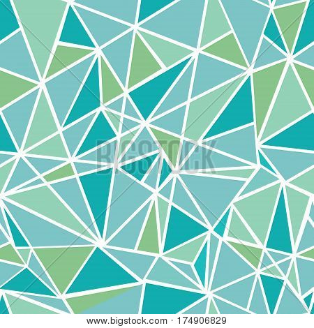 Vector Blue Green Geometric Mosaic Triangles Repeat Seamless Pattern Background. Can Be Used For Fabric, Wallpaper, Stationery, Packaging. Surface pattern design.