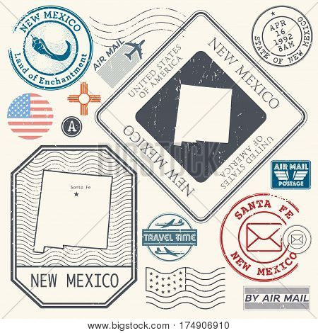 Retro vintage postage stamps set New Mexico United States theme vector illustration
