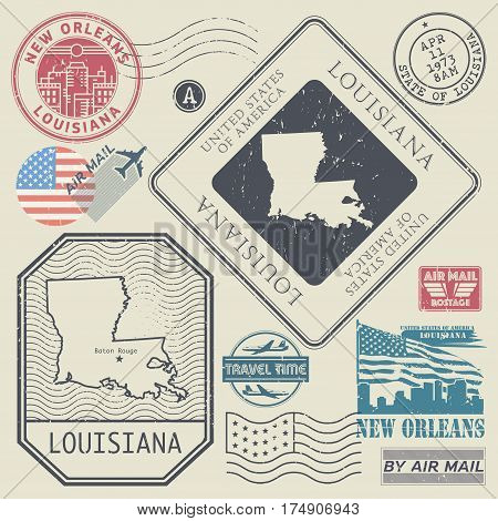 Retro vintage postage stamps set Louisiana United States theme vector illustration