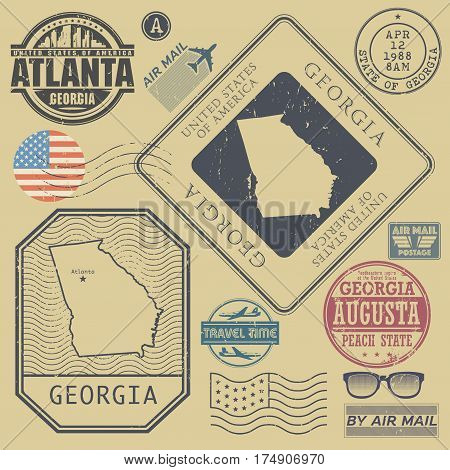 Retro vintage postage stamps set Georgia United States theme vector illustration