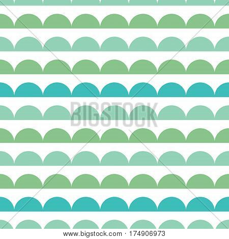 Vector Green Blue Scallops Stripes Seamless repeat Pattern Geometric Design. Great for nursery wallpaper, nautical invitations, fabric, abstract background. Surface pattern design.