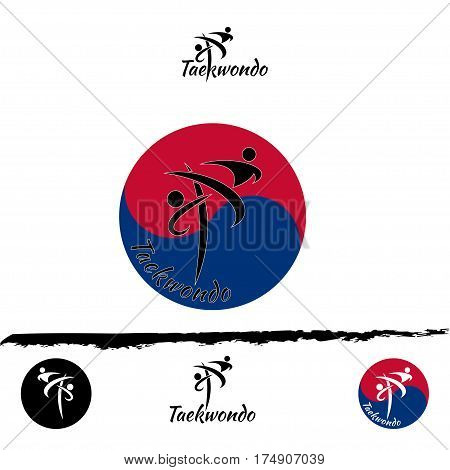 Set taekwondo logo for the team and the cup on a white background