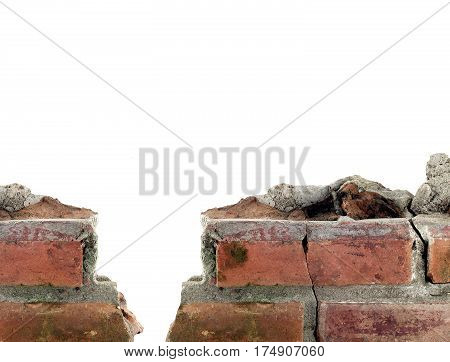 closeup brick wall remains isolated on white background with copy space for your simple text