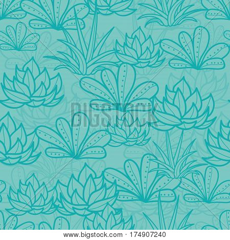Vector Blue Seamless Repeat Pattern With Growing Succulents and Cacti. Trendy tropical design for textile, fabric, packaging, backdrops, wallpaper. Surface pattern design.