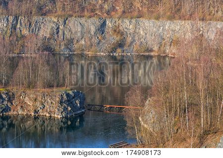 Panoramic view of an old open opencast mine of limestone works in Wülfrath Germany on a winter day.