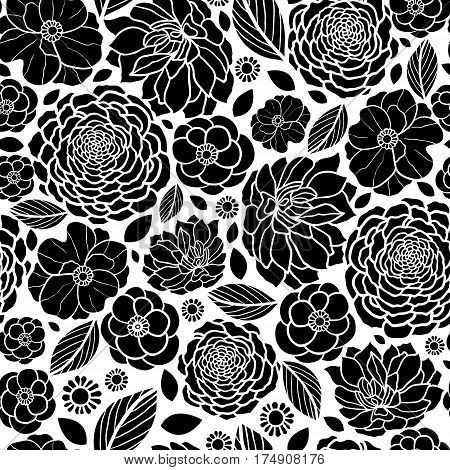 Vector Black and White Mosaic Flowers Seamless Repeat Pattern Background Design. Great For Elegant wedding invitations, anniversary, packaging, fabric, wallpaper. Surface pattern design.
