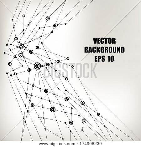 Abstract vector background. Black intersecting lines with round points at the intersections on a light background. Subject of technology, molecular physics, data transmission.