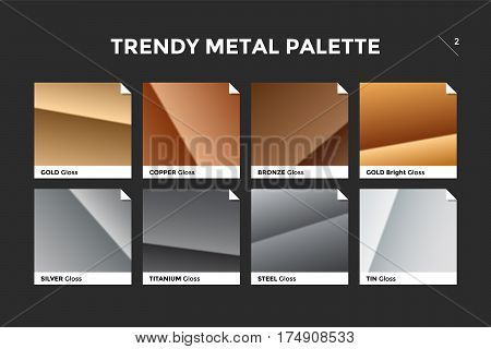 Gold, copper, bronze and silver gradient template. Collection palette of colorful metallic gradient illustrations with gloss for backgrounds, textures. Realistic metallic palettes. Vector Illustration
