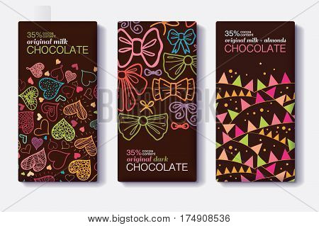 Vector Set Of Chocolate Bar Package Designs With Fun Party Decor Hearts, Bows, Flags Patterns. Milk, Dark, Almond. Editable Packaging Template Collection. Product package design.