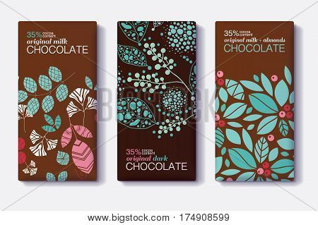 Vector Set Of Chocolate Bar Package Designs With Modern Plants and Leaves Patterns. Milk, Dark, Almond. Editable Packaging Template Collection. Product package design.