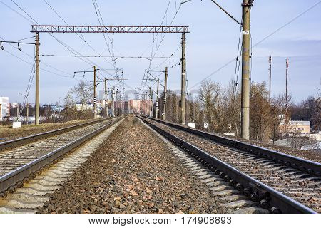 Two branches of electrified railway for the movement of trains with electric traction