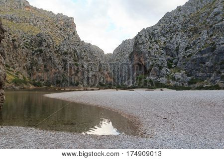 Canyon Torrent De Pareis And Beach, Majorca, Spain