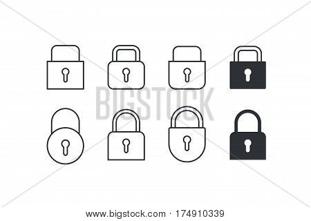 Lock. Set of Locks Icons different on white background. Lock Vector illustration.