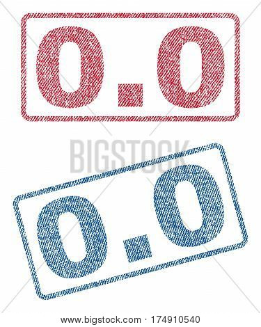 0.0 text textile seal stamp watermarks. Blue red fabric vectorized texture. Vector tag inside rounded rectangular banner. Rubber sign with fiber textile structure.