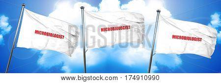 microbiologist, 3D rendering, triple flags