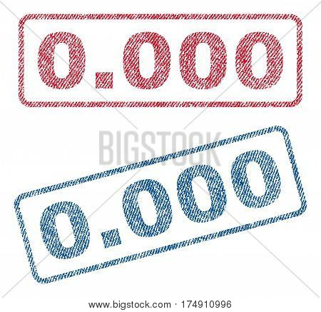 0.000 text textile seal stamp watermarks. Blue red fabric vectorized texture. Vector caption inside rounded rectangular banner. Rubber sticker with fiber textile structure.