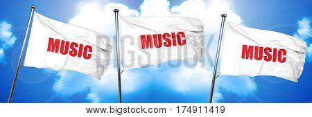 music, 3D rendering, triple flags