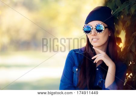Street Style Fashion Girl in Denim Shirt Wearing Blue Sunglasses
